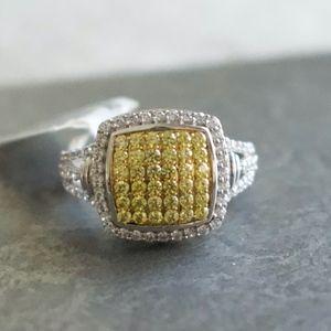 Fancy Yellow Swarovski Zirconia SS Ring - Size 6